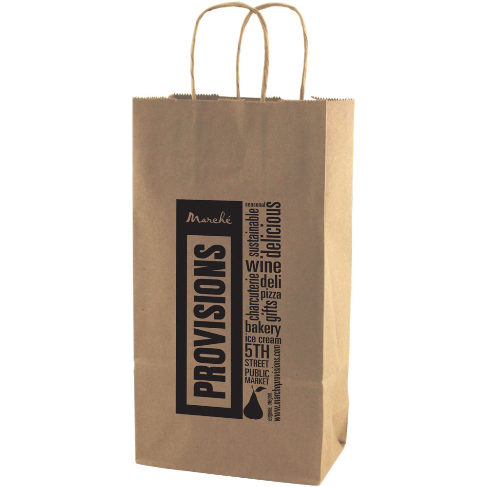 Natural Kraft Wine Shopping Bag - 2 Bottle