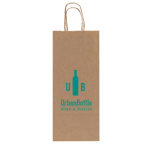 Natural Kraft Wine Shopping Bag - 1 Bottle