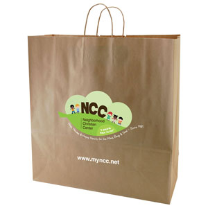 100 % Recycled Natural Kraft Shopping Bags