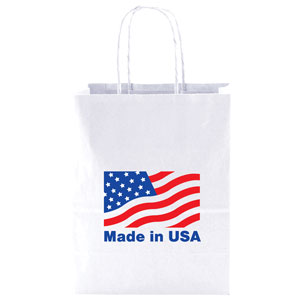 100 % Recycled White Kraft Shopping Bags