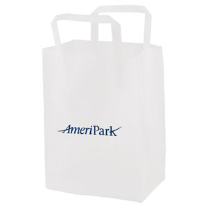 Clear Frosted Tri-Fold Handle Shopping Bags